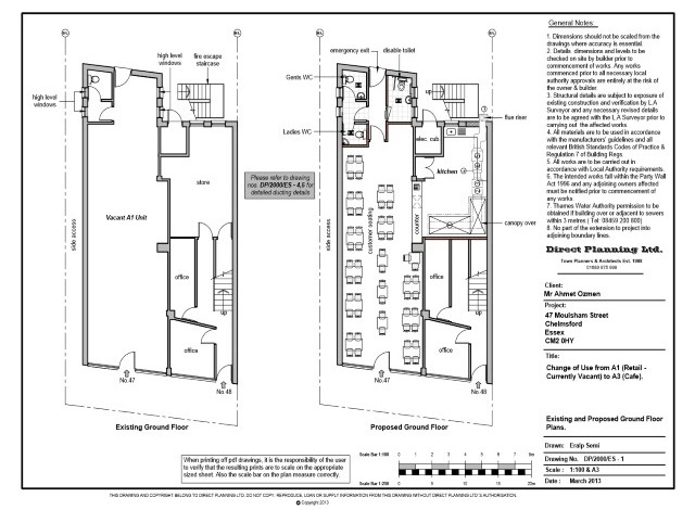Chelmsford essex change of use from a1 use class to a3 for Floor plans you can modify